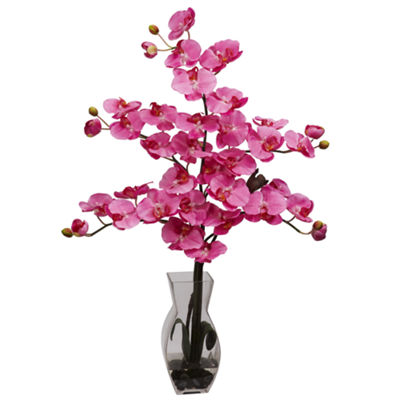 Nearly Natural Phalaenopsis With Vase Silk Flower Arrangement