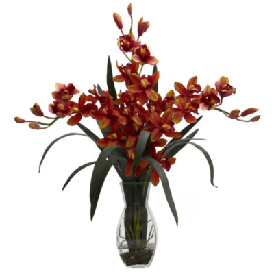 Nearly Natural Triple Cymbidium With Vase Floral Arrangement