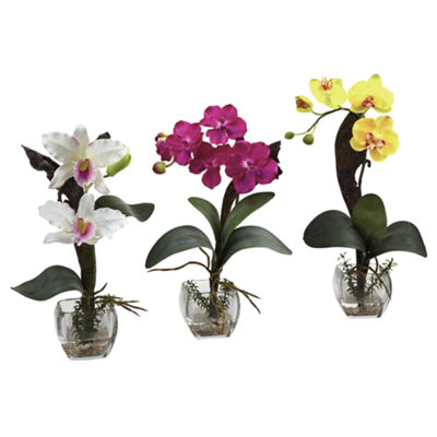 Nearly Natural Mixed Orchid With Cube Arrangements Set Of 3