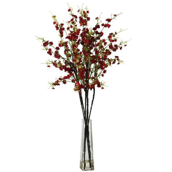 Nearly Natural Cherry Blossoms Silk Flower Arrangement With Vase