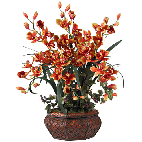 Nearly Natural Large Cymbidium Silk Flower Arrangement
