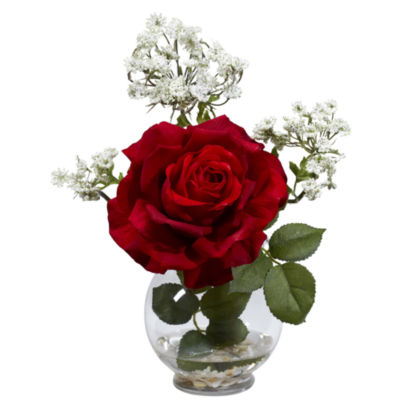 Nearly Natural Rose & Gypso Silk Flower Arrangement with Fluted Vase