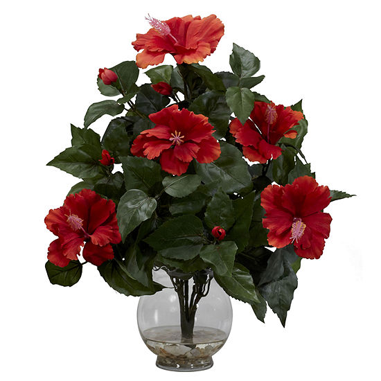 Nearly Natural Hibiscus Silk Flower Arrangement with Fluted Vase