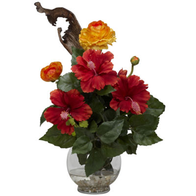 Nearly Natural Hibiscus & Ranunculus Silk Flower Arrangement with Fluted Bowl