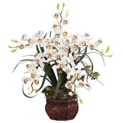 Cymbidium With Decorative Vase Silk Arrangement