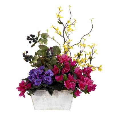 Mixed Floral With Azalea & White Wash Planter Silk Arrangement