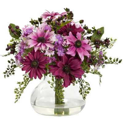 Nearly Natural Mixed Daisy Floral Arrangement With Vase