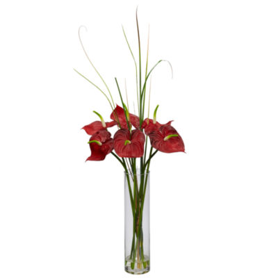 Nearly Natural Tropical Anthurium with Cylinder Vase Arrangement