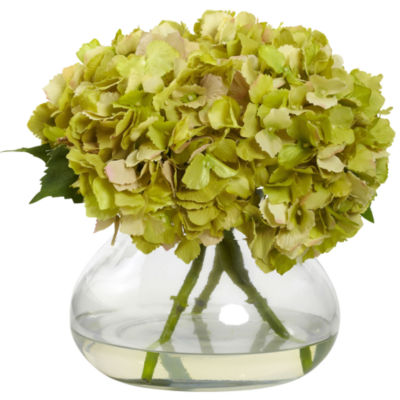 Nearly Natural Large Blooming Hydrangea With Vase