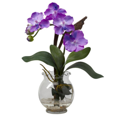Nearly Natural Mini Vanda With Fluted Vase Silk Flower Arrangement