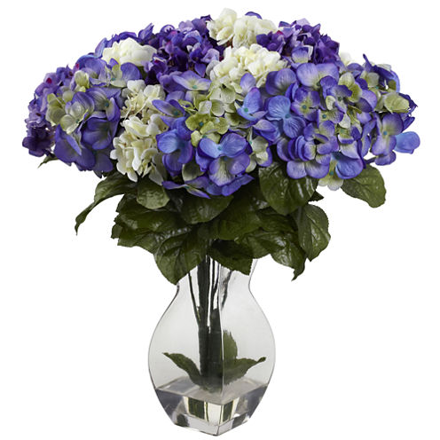 Nearly Natural Mixed Hydrangea with Vase