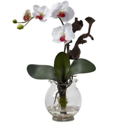 Nearly Natural Mini Phalaenopsis With Fluted Vase Silk Flower Arrangement
