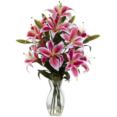 Nearly Natural Rubrum Lily Floral Arrangement
