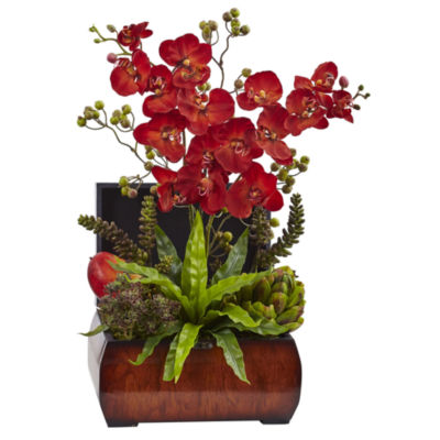 Nearly Natural Autumn Orchid & Succulent Arrangement With Chest