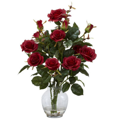 Nearly Natural Rose Bush With Vase Silk Flower Arrangement