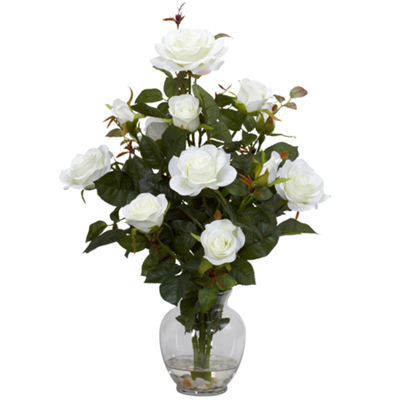 Nearly Natural Rose Bush Silk Flower Arrangement with Vase