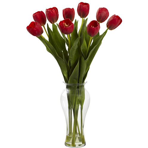 """Nearly Natural 24"""" Tulips with Vase"""
