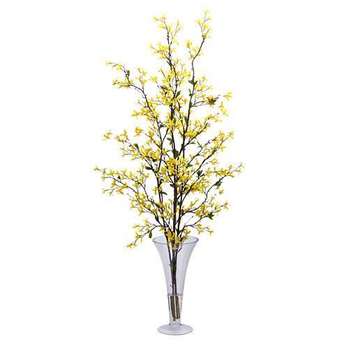 Nearly natural forsythia with vase silk flower arrangement jcpenney nearly natural forsythia with vase silk flower arrangement mightylinksfo