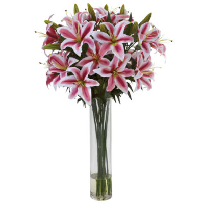 Nearly Natural Rubrum Lily Floral Arrangement with Cylinder Vase