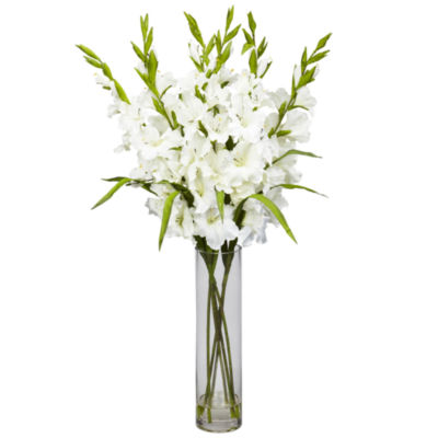 Nearly Natural Large Gladiola Silk Arrangement with Cylinder Vase