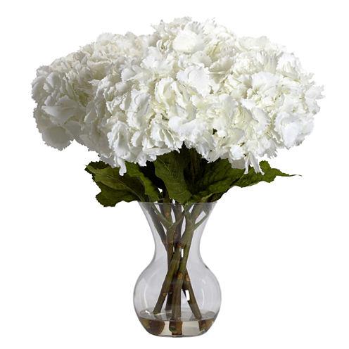 Nearly Natural Large Hydrangea Silk Flower Arrangement with Vase