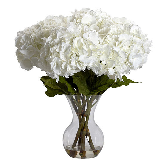 Nearly Natural Large Hydrangea Silk Flower Arrangement With Vase