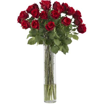 Nearly Natural Rosebud Silk Flower Arrangement with Cylinder Vase