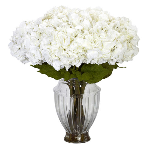 Nearly Natural Large Hydrangea With European Vase Silk Flower Arrangement