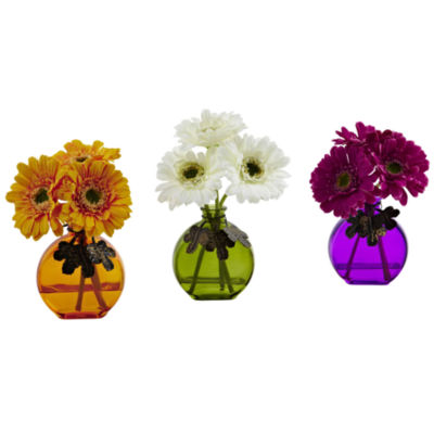Gerber Daisy With Colored Vase Set Of 3