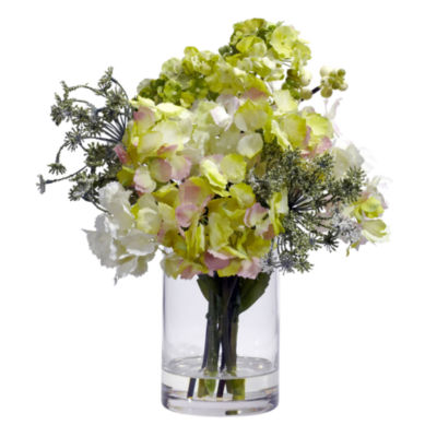 Nearly Natural Hydrangea Faux-Silk Flower Arrangement
