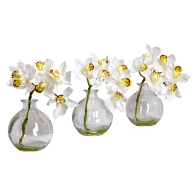 Nearly Natural Set of 3 Faux-Silk Cymbidium Flower Arrangements with Vase