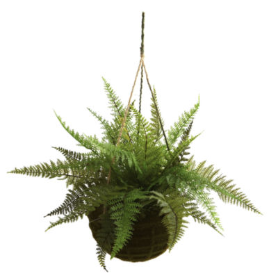 Nearly Natural Leather Fern With Mossy Hanging Basket Indoor/Outdoor Set Of 2
