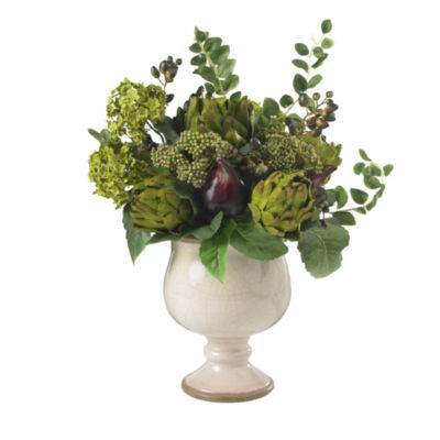 Nearly Natural Artichoke And Hydrangea Silk Flower Arrangement