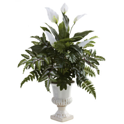 Nearly Natural Mixed Greens & Spathiphyllum With Decorative Urn