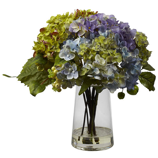 Nearly Natural Hydrangea with Glass Vase Arrangement