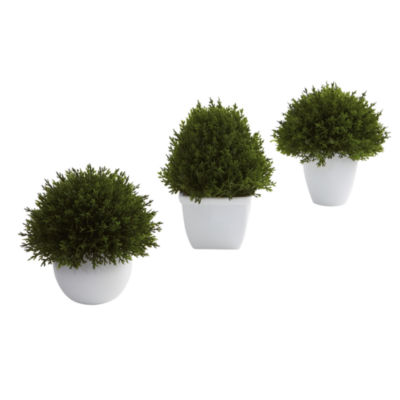 Nearly Natural Mixed Cedar Topiary Collection Set Of 3