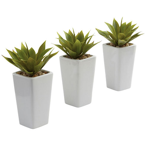 Nearly Natural Mini Agave With Planter Set Of 3 White