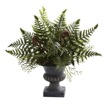 Nearly Natural Mixed Fern Bush With Urn Set Of 3