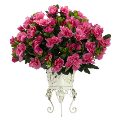 Nearly Natural Azalea Faux-Silk Plant with Metal Planter