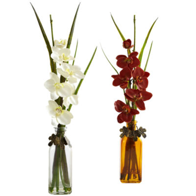 Nearly Natural Phalaenopsis With Colored Jar Set Of 2