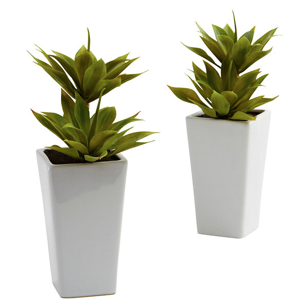 Nearly Natural Double Mini Agave With Planter Set Of 2