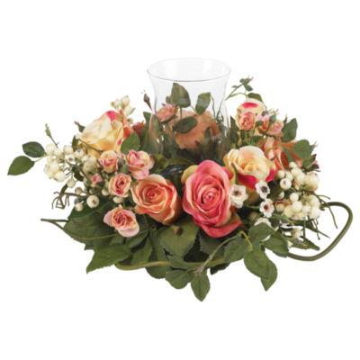 Nearly Natural Rose Candelabrum Silk Flower Arrangement