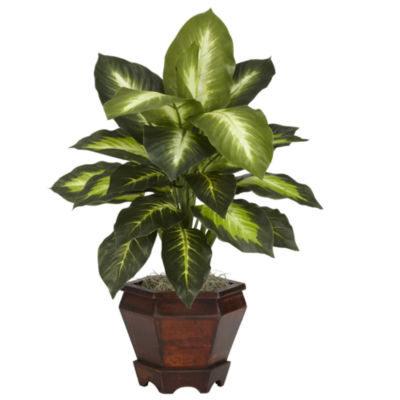 Nearly Natural Set of 2 Dieffenbachia With Wood Vase Silk Plant
