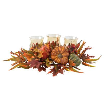 Nearly Natural Harvest Triple Candelabrum