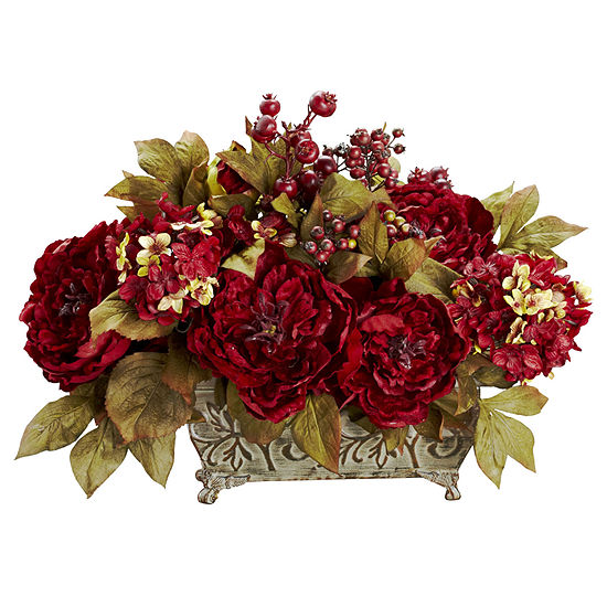 Nearly Natural Peony Hydrangea Silk Flower Arrangement