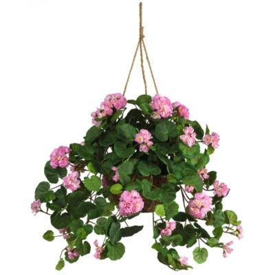 Geranium Hanging Basket Silk Plant