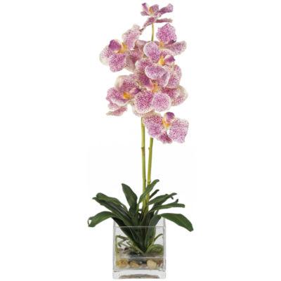 Nearly Natural Vanda With Glass Vase Silk Flower Arrangement
