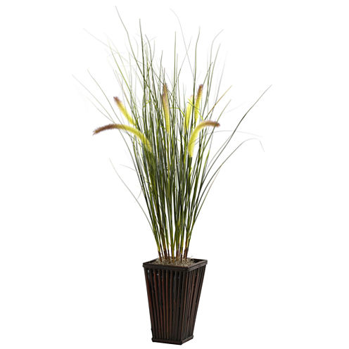 Nearly Natural Grass With Cattails & Bamboo Planter