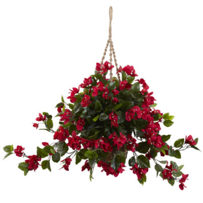 Nearly Natural UV-Resistant Indoor/Outdoor Bougainvillea Hanging Basket