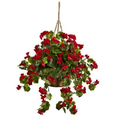 Nearly Natural Geranium Hanging Basket Uv Resistant Indoor/Outdoor